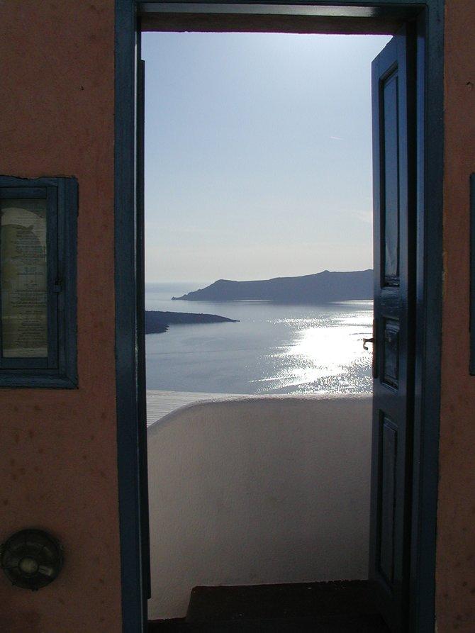 Door in the wall: threshold to the Caldera, Santorini.