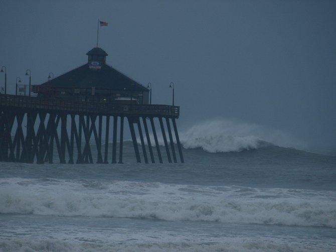 Waves breaking 200 yards off the pier. I have not seen this since 1983.