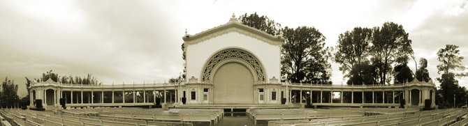 A Panoramic view of the stage in Balboa Park during a rainy day.