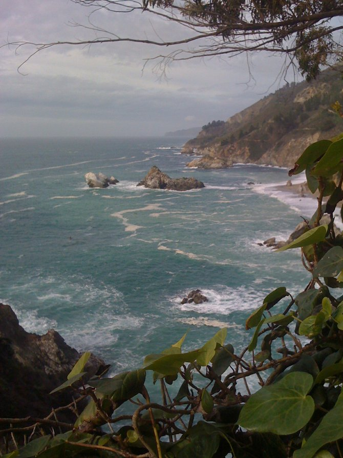 At Julia Pfeiffer State Beach, overlooking the coastline up in beautiful Big Sur, CA.