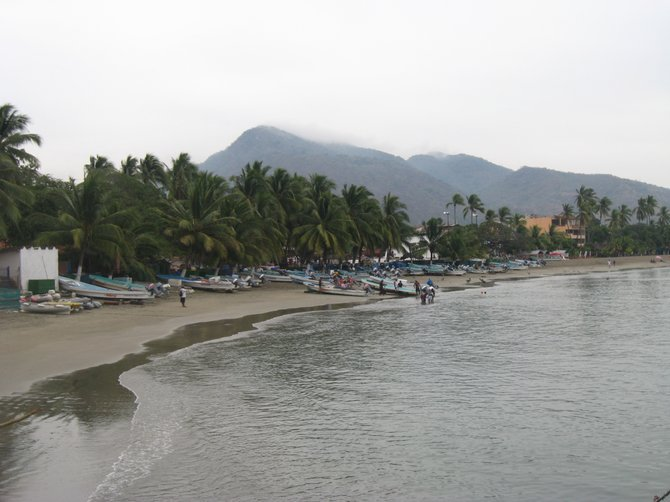 A quiet, peaceful beach in the town of Zihuatanejo, Guerrero Mexico
