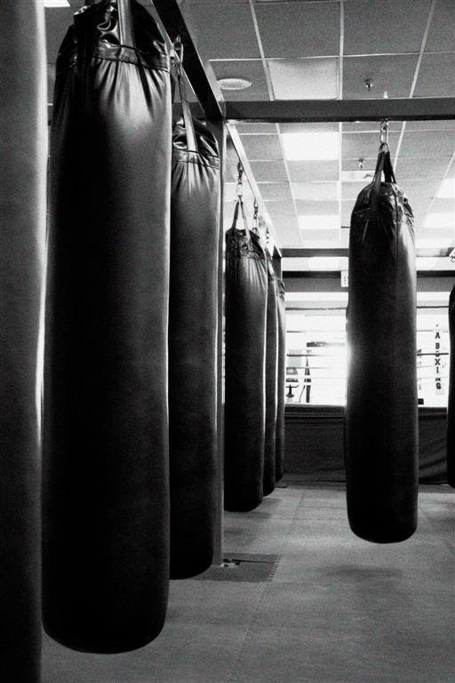 Heavy bags at the LA Boxing gym in Rancho Penasquitos.