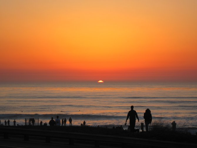 Sunset Cliffs was a popular destination for many on Valentine's Day.