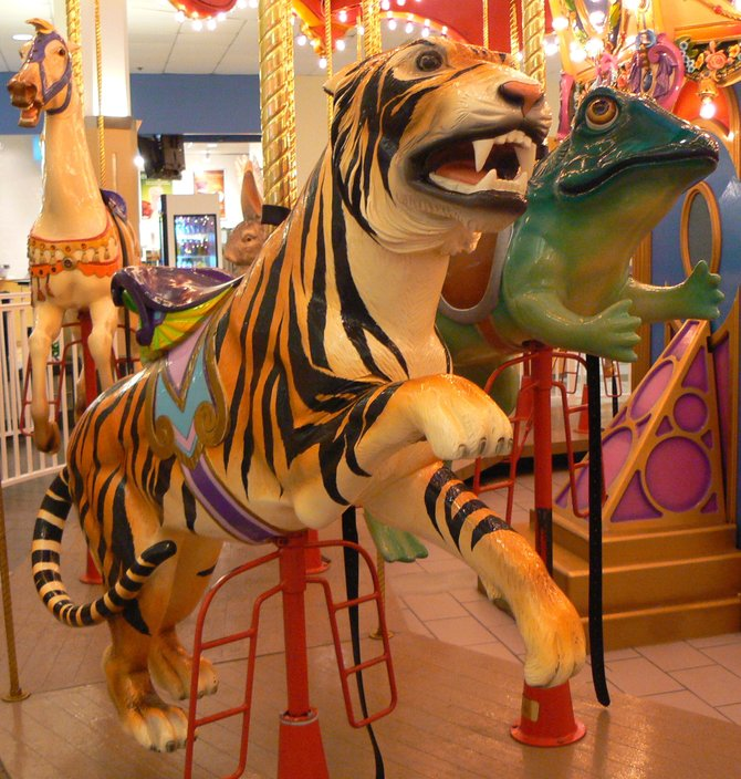 "Westfield Plaza Camino Real Shopping Mall Merry-Go-Round: ""When the Tiger lays down with the Frog"", Carlsbad, CA"