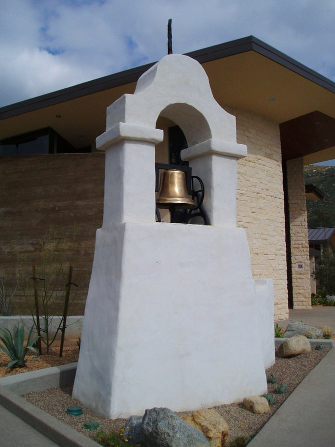 This is the original chapel bell and the only surviving section of the St. Bartholomew's chapel which was built in the 1930's and burned down in the 2007 wildfires. This bell tower was saved and now sits in front of the newly re-built St. Bartholomew's chapel on the Rincon Reservation, near Harrah's Casino in Valley Center.