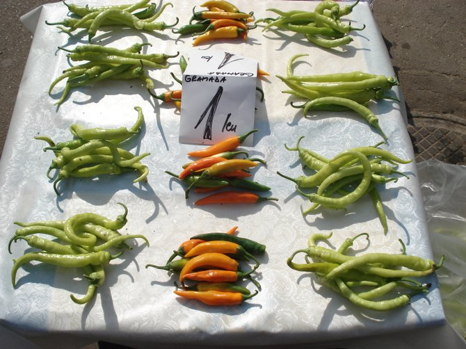 Beautiful peppers that are traditionally eaten with ciorba (sour soup) at a farmer's market in Bucharest, Romania.