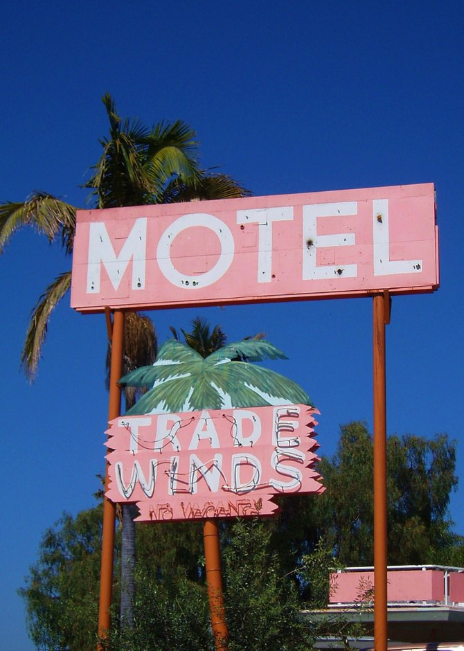The Trade Winds Motel on Mission Bay Drive was probably built in the 1950s and, thankfully, still retains its original mid-century architectural design. The motel sits on a perfect location across the street from De Anza Cove.