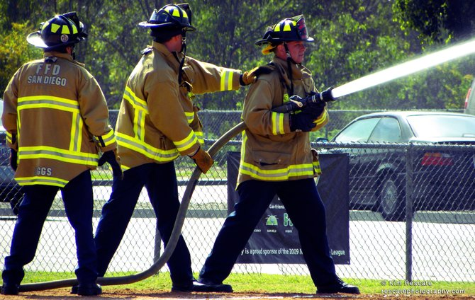 Firefighters at Morley Field.