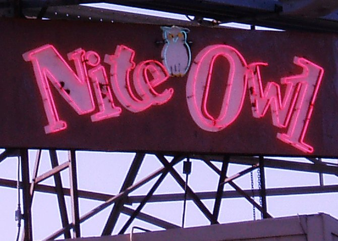 I have a penchant for cool, old neon signs in San Diego. This one, that sits atop the Nite Owl Cocktail Lounge in Pacific Beach, is one of my favorites.