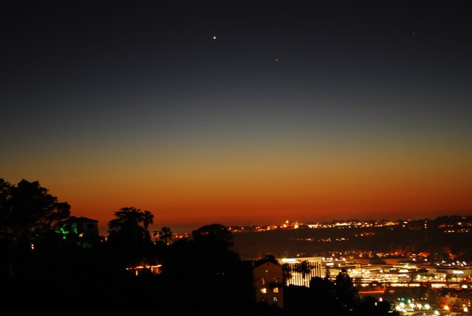 Mission Valley right after sunset with bright Venus and Mercury to the lower right.