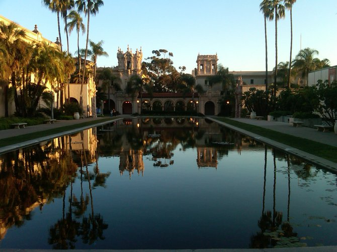 The reflecting pond at Balboa Park during sunset.  I'm a recent transplant from NYC and am amazed at the beauty this park holds.