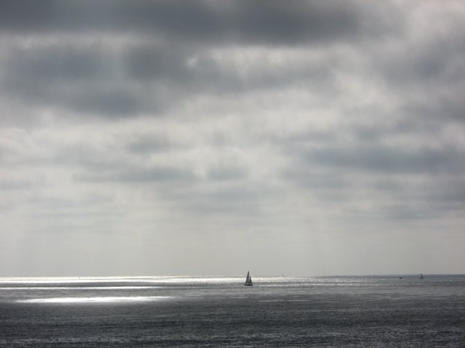 This was the only boat out in the ocean, at Pacific Beach.