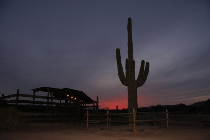 Setting sun in Rawhide Western Town in Chandler, Arizona