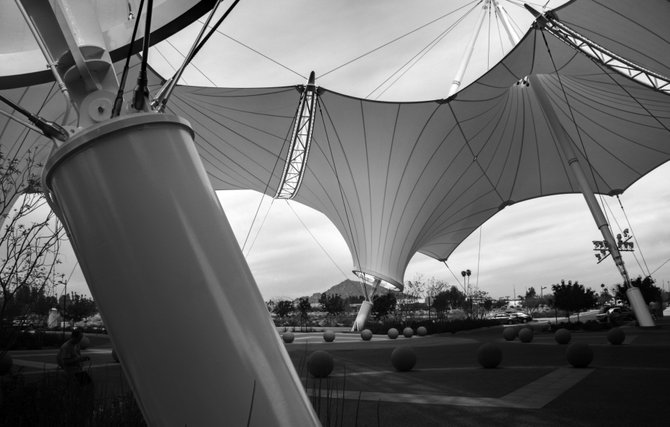 Skysong, fabric architecture used to shade the common areas of an ASU business complex in Scottsdale, Arizona