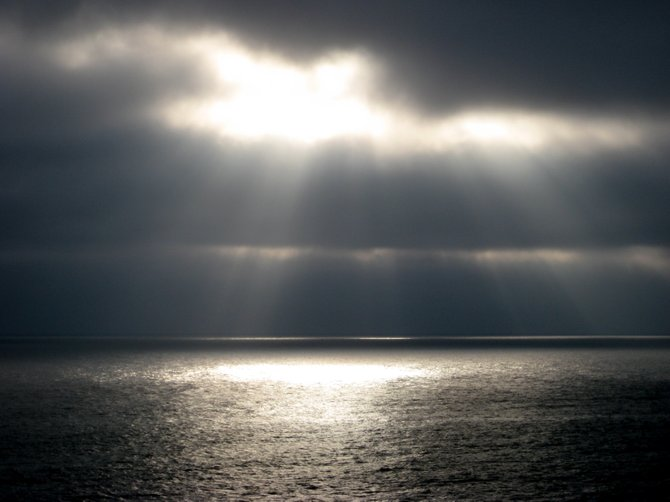 This picture was taken at Carlsbad State Beach Campground in August of last year. It was a cloudy day but the sun was shining through the clouds for an instant and I saw the perfect opportunity to take a picture.