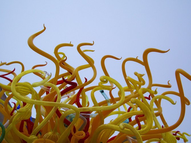 "A detail from Dale Chihuly's ""Sun"" at the Salk Institute."