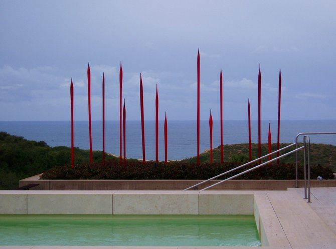 Dale Chihuly's red spikes sculpture at the Salk Institute.