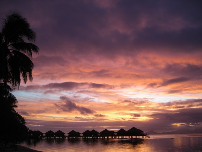 Bungalow sunset in Huahine, Tahiti