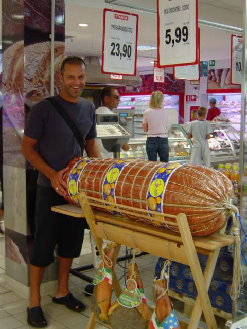 I have the biggest sausage in my hands...at a grocery store in Rimini, Italy!