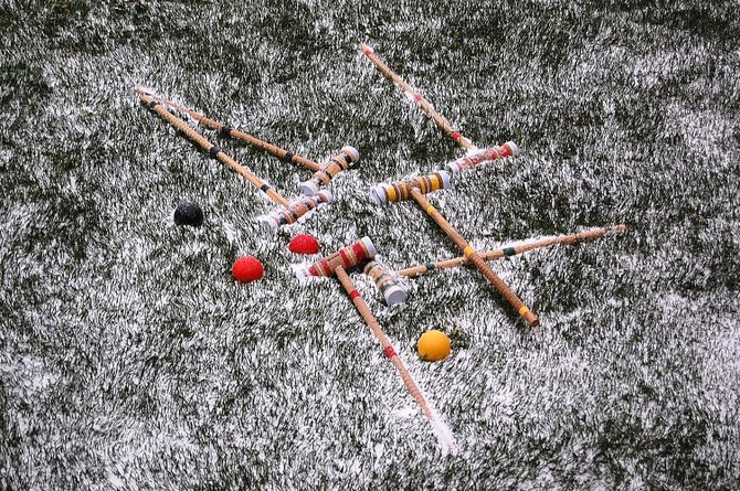 Playing croquet in the sun on Saturday, covered in snow in a freak very late snowstorm in Big Bear on May 23. 2010.