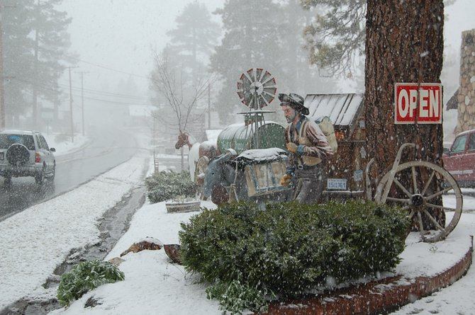 Caught on the mountain without snow chains in a freak very late spring snowstorm on Big Bear on May 23, 2010.