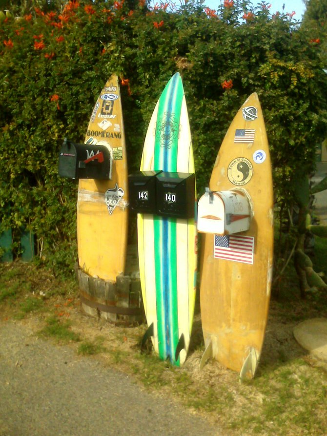 Leucadia......ahhhhh  What a great place to live and also to visit just to get away from the busy crowds of most coastal villages in San Diego.  The relaxed atmosphere and mind set is expressed by these surf board mailboxes!  Eclectic is the best word to express the versatility of this wonderful area!