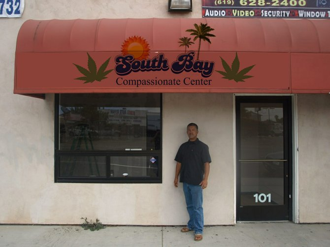 Bonita resident & grow master posing in front of the first Southbay Coop 1760 palm ave minutes from bonita open June 1st 2010 medical marijuana for Bonita residents