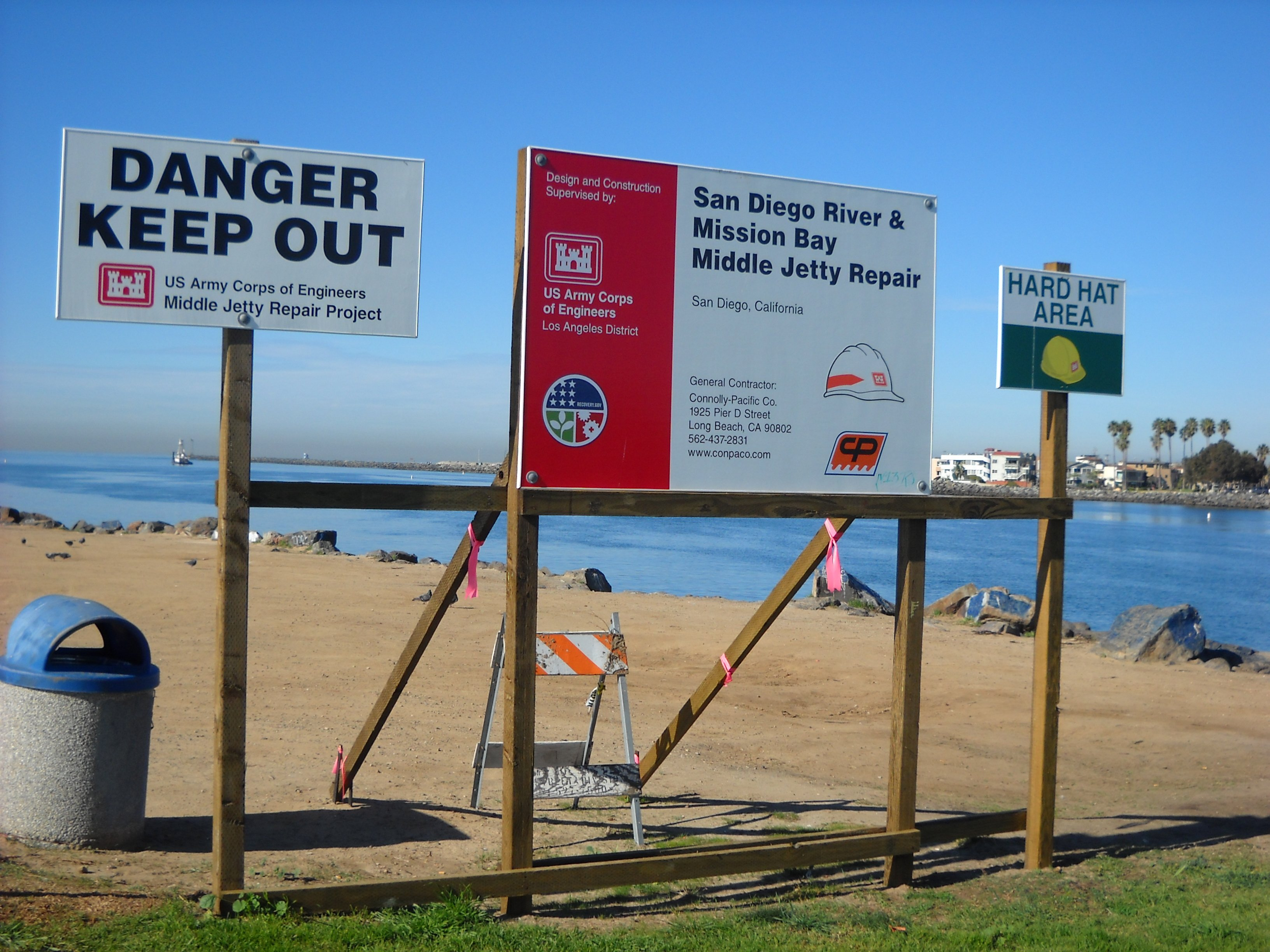 Signs that greet you on the Ocean Beach jetty!