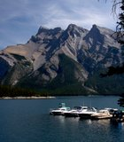 This photo of Lake Minnewanka was taken at Banff National Park in Canada.