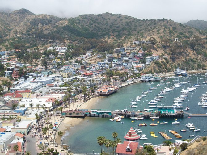 Looking down from the hills of Catalina Island on a beautiful spring day.