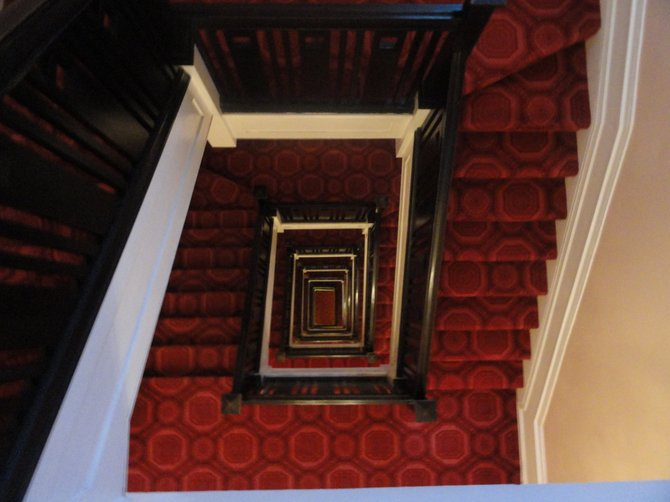 The stairwell at the Beresford Arms Hotel in San Francisco