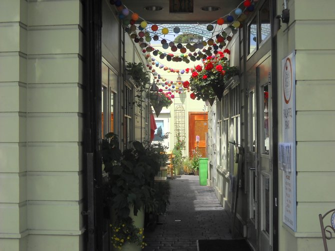 A colorful, little walkway off Shattuck Avenue, Berkeley-adjacent to the Chick Pea Restaurant.