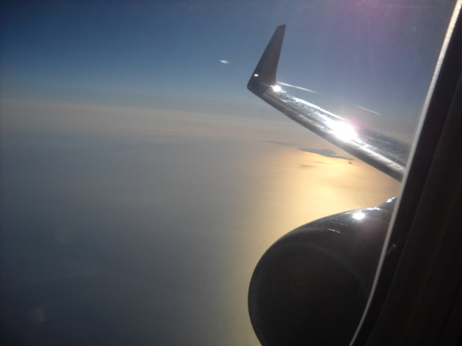 Flying Southwest Airlines over Santa Barbara -- this photo shot looking back at the plane's wings.