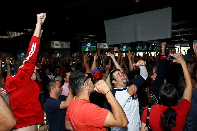 The crowd at packed-out True North Tavern goes wild as USA scored its 1st goal In the World Cup match against Ghana