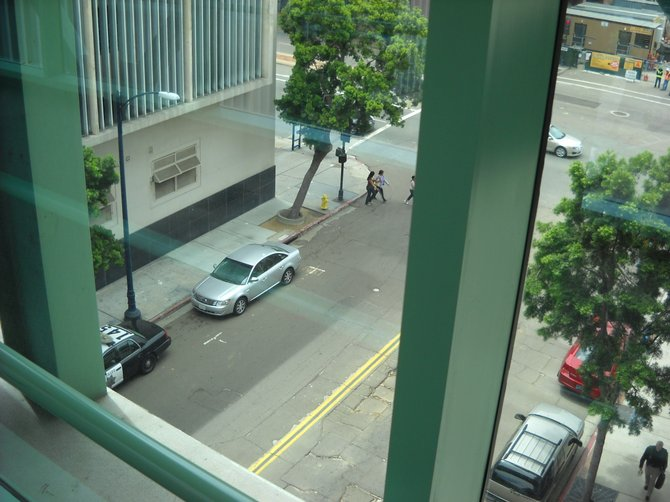 Looking down from the bridge spanning the Hall of Justice and the Criminal Courts building downtown. Don't jump!