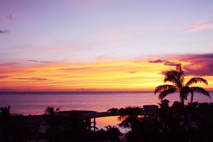 Sunrise from our balcony in Jamaica.