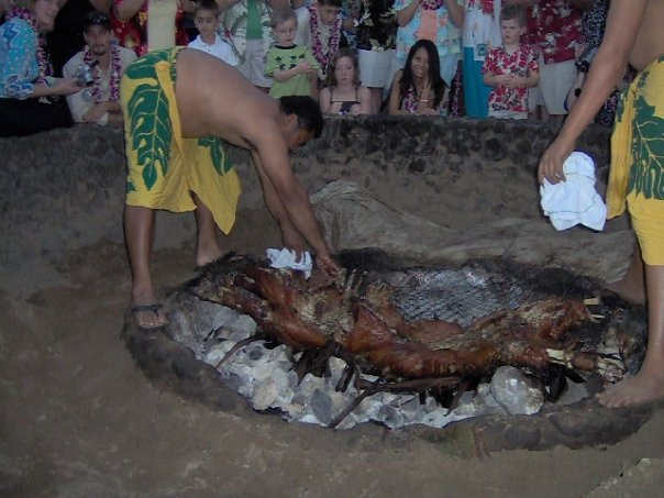 Preparing to roast a pig for a luau in Maui.