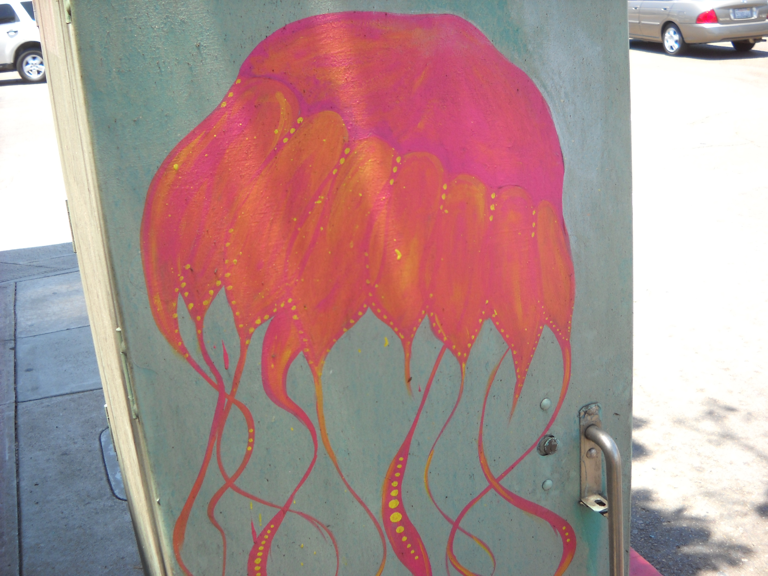 Utility box art in honor of jellyfish. Near Point Loma Post Office.