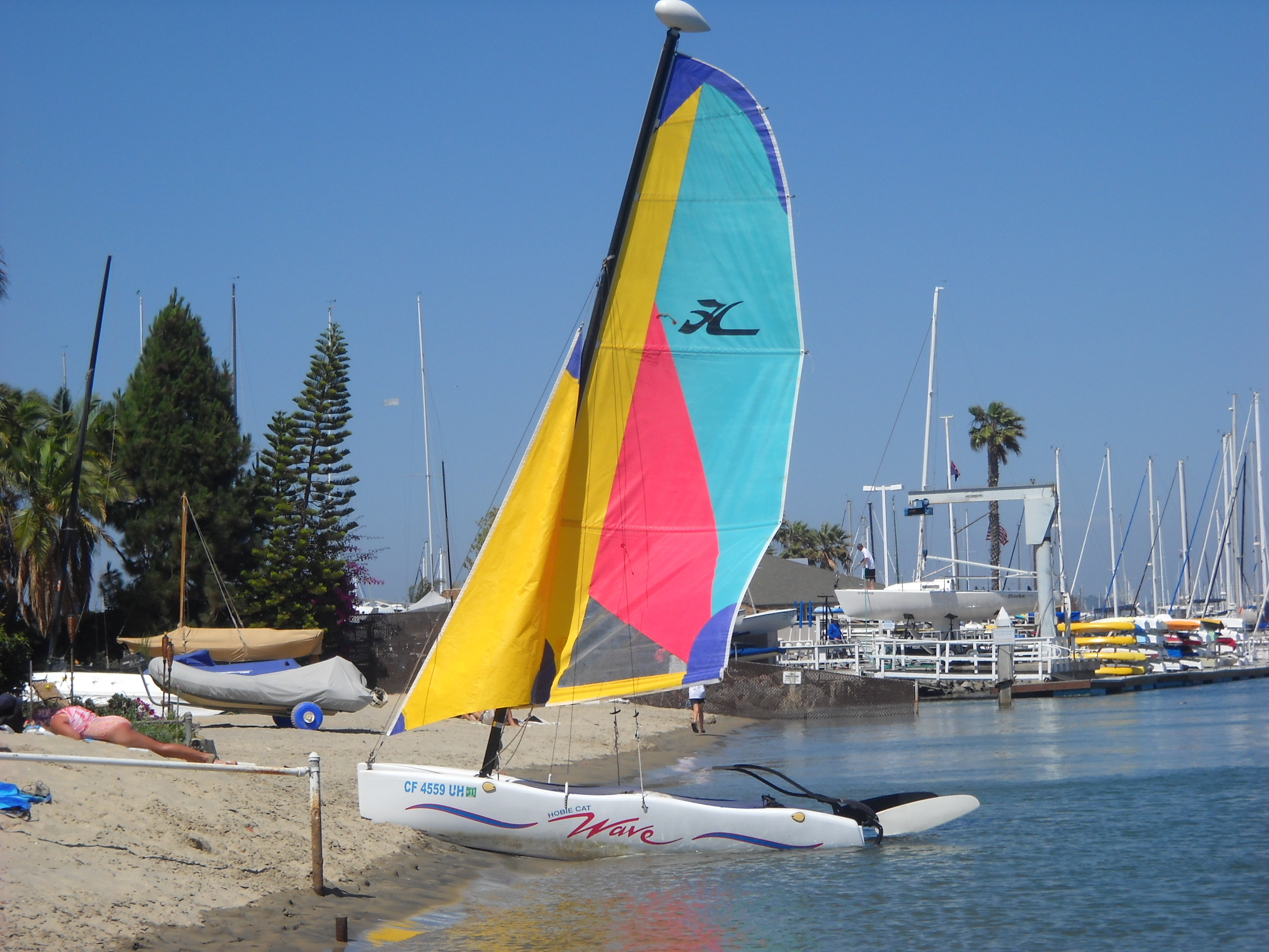 Colorful sailboats await a stiff breeze along San Diego Bay.