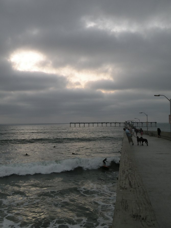 Ocean Beach Pier at sunset, on an overcast day