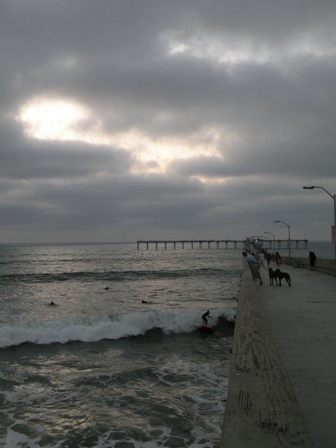 Ocean Beach Pier at sunset, on an overcast day