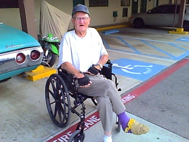 WWWII Veteran survives being run down by a motorist on June 4th, 2010 at a La Mesa crossroad. Sharp Hospital lost his teeth in the emergency room.  Despite that, he continued to gum his food for six weeks before the new dentures were made and fitted. At eighty something, Sam is hard to kill.