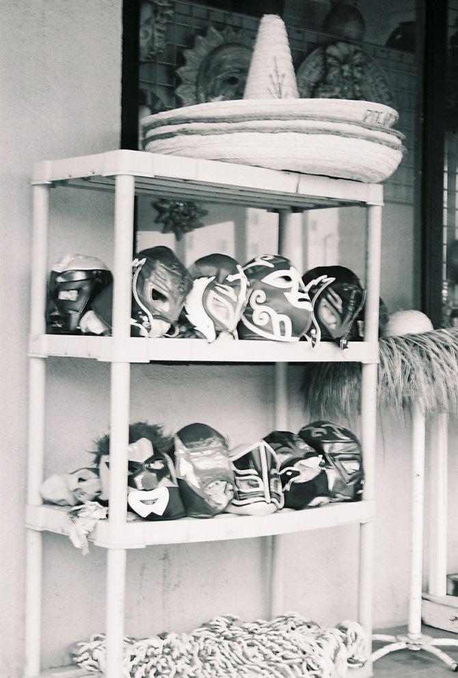 Masks outside a shop