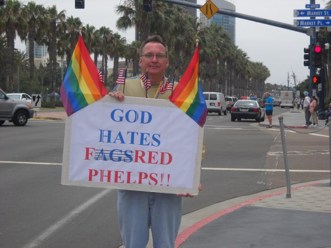 This gentleman is not a fan of the Westboro Baptist Church protesters at Comic-Con.