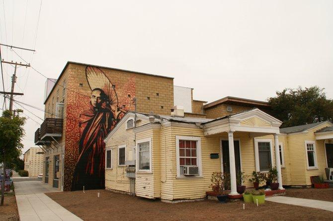 "Shepard Fairey's ""Burmese Monk"" mural."