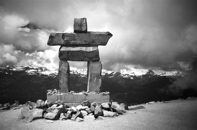 The Inukshuk is a directional marker or milestone and is usually used to direct hikers on the easiest path. It has since become a symbol of the winter olympic games in Whistler, BC.  This Inukshuk is quite large and rests on the summit of Whistler Mountain.
