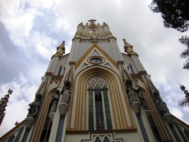 A below view of a church in Brazil.