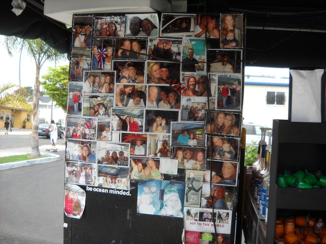 Friends of Cafe Bella Coffee picture wall in Ocean Beach.