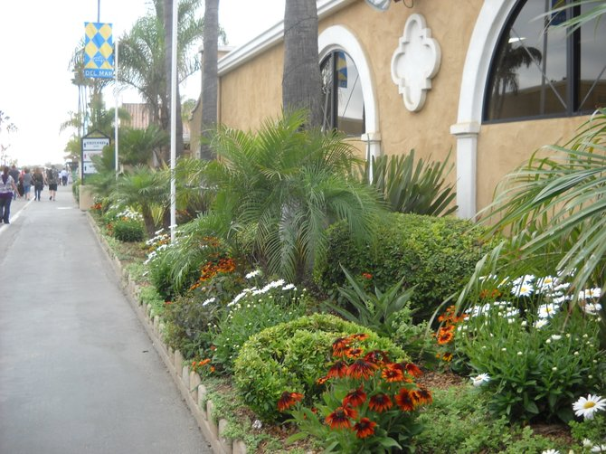 Beautifully-landscaped entrance to Del Mar Racetrack.