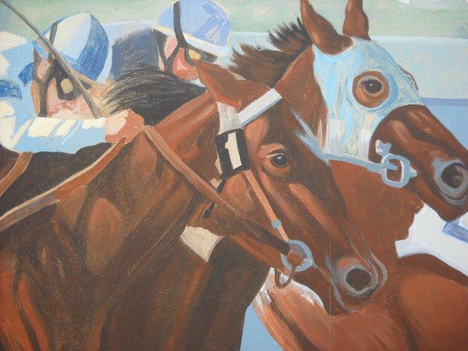 Ride the ponies mural alongside Del Mar Fairgrounds tunnel.